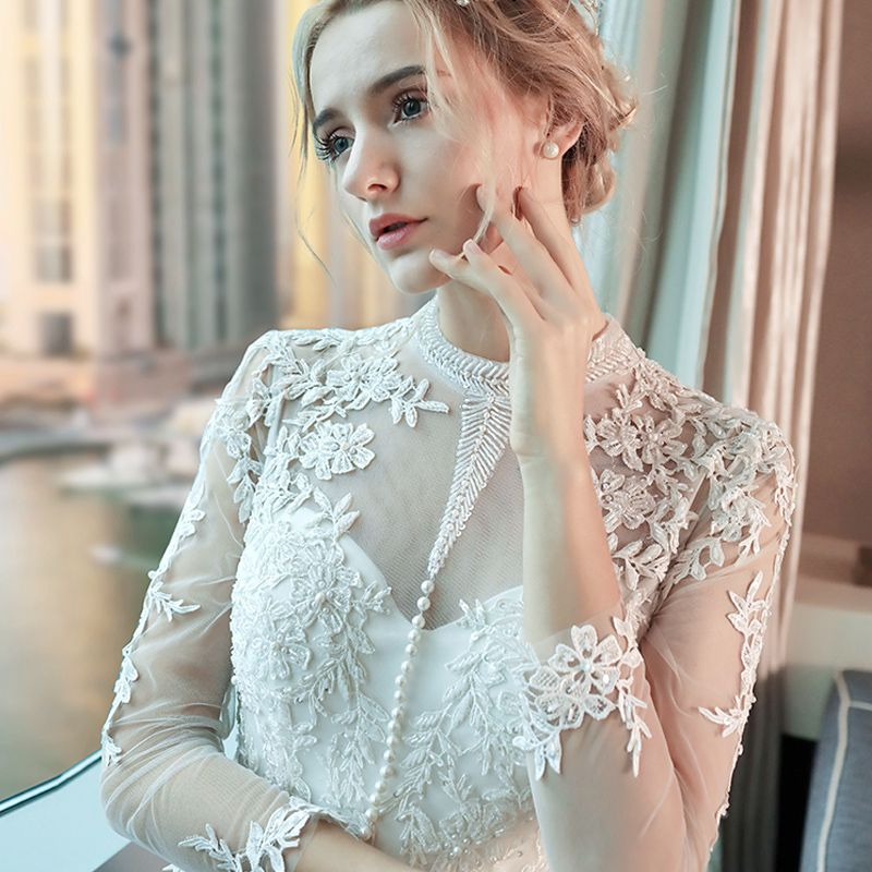 Chic / Beautiful Outdoor / Garden Wedding Dresses 2017 Lace Flower Pearl High Neck Long Sleeve Floor-Length / Long Hall White Ball Gown