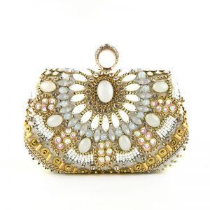 Chic / Beautiful Silver Clutch Bags 2020 Metal Beading Rhinestone