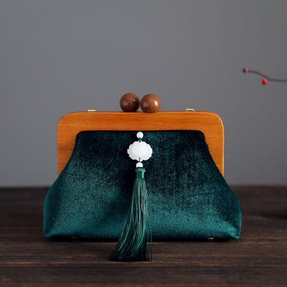 Vintage Kinesisk Stil Mørkegrøn Velour Tassel Firkantede Clutch Taske 2020