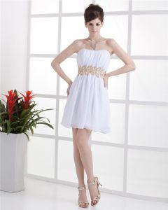 Strapless Ruffle Beading Sleeveless Zipper Mini Length Chiffon Woman Little Black Party Dress