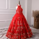 Chic / Beautiful Red Flower Girl Dresses 2019 A-Line / Princess Halter Sleeveless Appliques Flower Pearl Floor-Length / Long Ruffle Backless Wedding Party Dresses