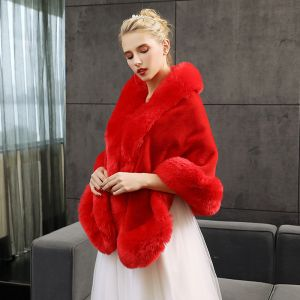 Red Winter Faux Fur Evening Party Prom Wedding Shawls 2017