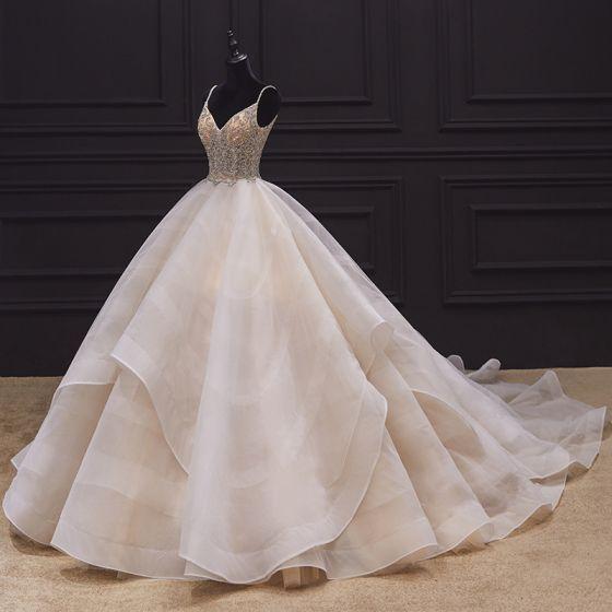Luxury / Gorgeous Champagne Bridal Wedding Dresses 2020 Ball Gown Spaghetti Straps Sleeveless Backless Handmade  Beading Pearl Ruffle Chapel Train