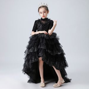 Vintage / Retro Black Birthday Flower Girl Dresses 2020 Ball Gown See-through High Neck Short Sleeve Sequins Beading Rhinestone Asymmetrical Cascading Ruffles