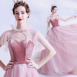 Moda Rosa Transparentes Vestidos de gala 2020 A-Line / Princess Cuello Alto Manga Corta Cinturón Rebordear Glitter Tul Colas De Barrido Ruffle Sin Espalda Vestidos Formales
